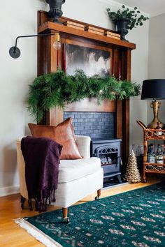 This year I put together what I'm calling a moody holiday mantel. It's cozy, warm and inviting - thus why I went moody holiday mantel. Faux Fireplace, Fireplaces, 1930s Fireplace, Seasonal Decor, Holiday Decor, Do It Yourself Home, Living Spaces, Living Rooms, Interior Design