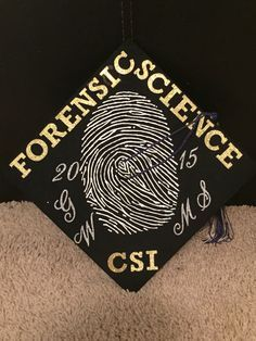 My graduation cap for my Master's degree :) Crime Scene, Criminal Justice, Forensic Science - Daily Good Pin College Graduation Parties, Graduation Diy, Graduation Pictures, Graduation Invitations, Criminal Justice Graduation, Criminal Justice Major, Graduation Cap Designs, Graduation Cap Decoration, Cap And Gown Pictures