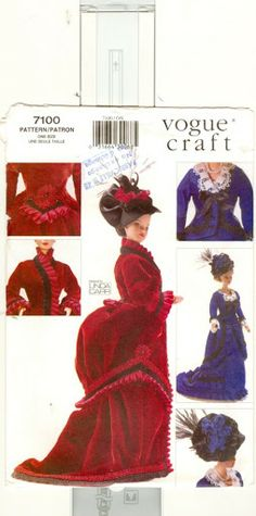 Herbie's Doll Sewing, Knitting & Crochet Pattern Collection: Vogue Craft Sewing Pattern number 7100 - Edwardian Bustle Dresses for Barbie size dolls Barbie Sewing Patterns, Sewing Dolls, Vogue Patterns, Doll Clothes Patterns, Doll Patterns, Clothing Patterns, Crochet Patterns, Doll Clothes Barbie, Barbie Dress