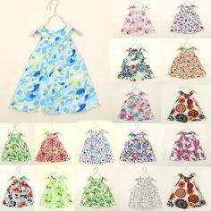 Sale 13% (8.88$) - 2015 Hot Baby Kids Girls Toddler Party Summer Jumper Skirt Bottega Veneta Floral Dress