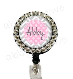 Name Badge Reel Holder Retractable ID Badge   Bling  by abbyloutwo, $10.99