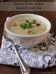 Slowcooker Potato Kielbasa Spinach and Gouda Soup   #SundaySupper   Recipe on www.mealplanningmagic.com