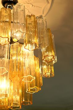 Murano Glass Chandelier in amber and transparent glass