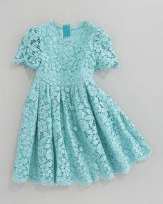 Dolce & Gabbana Short Sleeve All-Over Lace Dress - Neiman Marcus