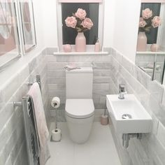 I can not believe the response this little room has had! 🌸 It totally gets over looked and we rarely use it so it's nice that it can be… is part of Toilet room - Small Downstairs Toilet, Small Toilet Room, Downstairs Bathroom, Small Bathroom, Bathroom Gray, Bathroom Ideas, Bathroom Vanities, Target Bathroom, Cloakroom Ideas