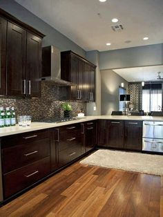 espresso cabinets with similar flooring