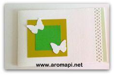Tarjeta de mariposa en duo de color verde