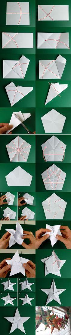 【聖誕企劃之折紙星星】超強進階版,有點複雜喔,要有相當耐心才能完成!來源http://www.homemade-gifts-made-easy.com/5-pointed-origami-star.html
