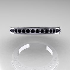 Modern Vintage 10K White Gold Black Diamond Wedding by artmasters, $499.00