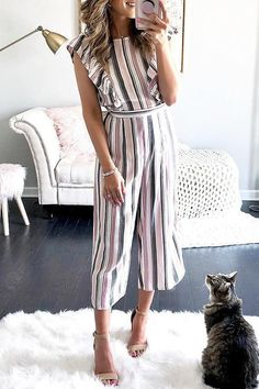 Fashion Striped Flutter Sleeves Wide Leg – summer outfits summer outfits women casual summer outfits hot summer outfits cute summer outfits boho summer outfits summer outfits for work summer outfits 2019 summer outfits women Jumpsuit Dressy, Jumpsuit Outfit, Striped Jumpsuit, Romper Pants, Summer Jumpsuit, Denim Jumpsuit, Jumper Outfit, Long Romper, Cozy Outfits
