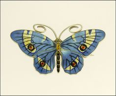 Antique Large Silver Enamel Butterfly PIn by Marius Hammer, Norway