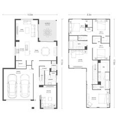 Explore over 60 single and double storey house plans. Double Storey House Plans, Narrow Lot House Plans, Dream House Plans, House Floor Plans, Modern Small House Design, Contemporary House Plans, Storey Homes, House Blueprints, House Roof