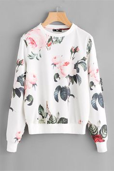 Dotfashion Flower Print Pullover 2017 New Autumn Round Neck Cute Pullovers Women Multicolor Long Sleeve Sweatshirt Girls Fashion Clothes, Teen Fashion Outfits, Girl Fashion, Girl Outfits, Fashion 2017, Nature Girl, Stylish Hoodies, Cute Casual Outfits, Pullover