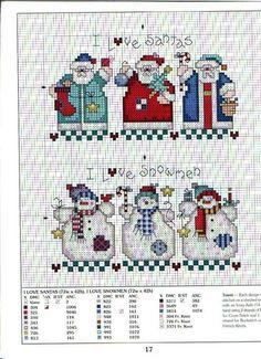 I love Santas I love snowmen cross stitch