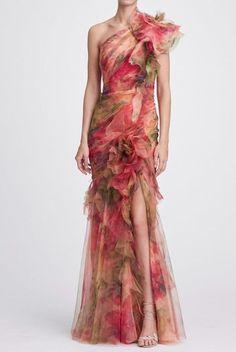 03f39a2021f Marchesa One Shoulder 3D Printed Silk Organza Evening Gown