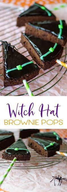 Witch hat brownie pops will be the hit of your Halloween party! Simple to make w… Witch hat brownie pops will be the hit of your Halloween party! Simple to make with a box brownie mix, fast frosting, and an easy piping method! Halloween Brownies, Halloween Desserts, Halloween Goodies, Halloween Food For Party, Easy Halloween, Witch Party, Halloween Cake Pops, Halloween Recipe, Halloween Night