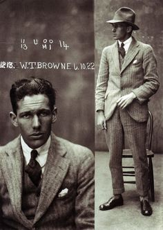 Early 20th C. mugshots from Sydney. They look like something you might see in Esquire today. Crooks knew how to dress.