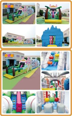 AQ1551 (30*4*7.5M   98.43'*13.12'*24.61') Attractive princess 2 in 1 carriahe obstacle,The princess castle combines an inflatable obstacle with a novel design and features a crawl tunnel, huge slide, exciting climb.