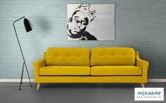 mobile Wandgestaltung in Betonoptik Popart Kunstwerk Bild Pop Art, Sofa, Couch, Love Seat, Furniture, Home Decor, Room Interior Design, Artworks, Pictures
