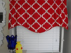 Red window valance, Window treatment valance, Window curtains, curtains, pillows, Bedding, Comforters, Bedspreads, Placemats, Napkins, Chair
