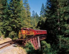 Ride forty miles of railroad through majestic redwood forests, scenic mountain meadows, and over thirty trestles bridging the pristine mountain waters of Northern California. Yellowstone National Park, National Parks, Places To Travel, Places To See, California Camping, Redwood Forest, Vacation Destinations, Vacation Trips, Vacation Ideas