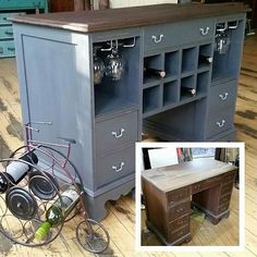 A before and after of our wine bar design…looks great in the shop! A before and after of our wine bar design…looks great in the shop! Old Furniture, Refurbished Furniture, Repurposed Furniture, Furniture Projects, Furniture Making, Furniture Makeover, Home Projects, Painted Furniture, Upcycled Furniture Before And After