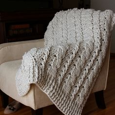 Chunky Cables Decorative Throw Crochet Pattern PDF by knotsewcute