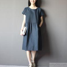 Blue oversize sundress plus size linen shirt dresses