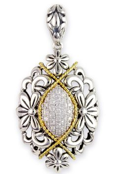 Diamond Sterling Silver Floral Pendant with 18K Gold Accents | Cirque Jewels