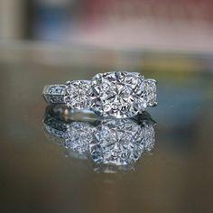 2ct cushion radiant square center three stone ring 635R71302 ,  simulated diamond wedding ring.