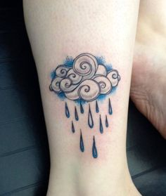 Custom Tattoo by Josh in Portland, OR. Oregon Rain Cloud Tattoo. O.Boy.Studios