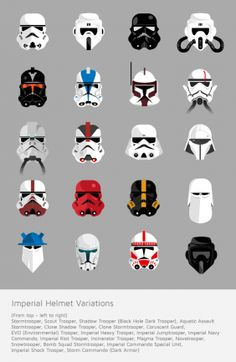 Fan created art featuring all 20 Imperial trooper helmet designs from the Star Wars universe. Theme Star Wars, Star Wars Art, Star Trek, Stargate, Cosplay Star Wars, Vw T, Love Stars, Cultura Pop, Clone Wars
