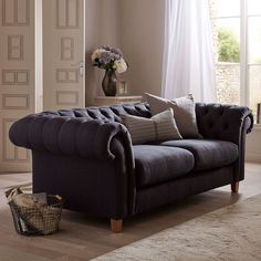 Buy John Lewis Cromwell Chesterfield Large 3 Seater Sofa, Light Leg, Farland Slate from our Sofas & Sofa Beds range at John Lewis & Partners. Free Delivery on orders over Small Sofa, Large Sofa, Sofa Design, John Lewis Sofas, Grey Leather Sofa, Snug Room, Chesterfield Sofa, 2 Seater Sofa, Living Room Sofa