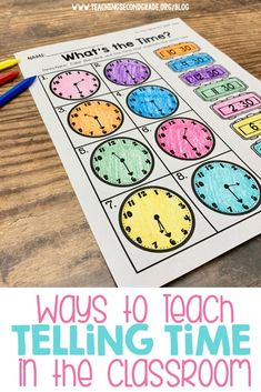 Teaching Telling Time in the Classroom Telling time worksheets for 1st and 2nd grade teachers. Math Worksheets, Math Resources, Math Activities, Telling Time Activities, Educational Activities, Math Games, Teaching Time, Teaching Math, Teaching Ideas