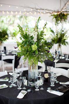 Black, white and green wedding