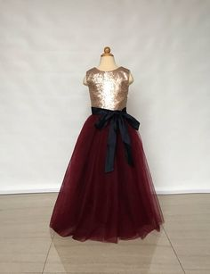 bc1aad13dac Floor-Length Matte Champagne Gold Sequin Burgundy Tulle Flower Girl Dress  with Black Sash