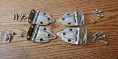 "set of four (4) antique hoosier or kitchen cabinet hinges with screws 3/8"" offset originals"