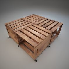 Coffee Table Wood Crates 3D 3Ds - 3D Model