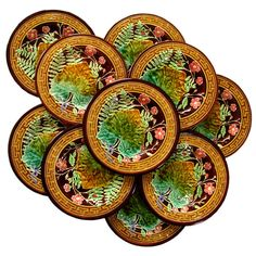 10 Antique French Majolica / Faience Pottery Plates by Boulenger Hautin et Cie, Choisy-le-Roi