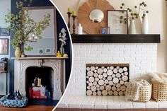 5 Fireplace Tricks to Try: Chances are that fireplace isn't going to be used for another six months, so why not give it a seasonal makeover using things you already own. via @surroundmag