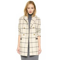 Tory Burch Plaid A Line Jacket ($655) ❤ liked on Polyvore featuring outerwear, jackets, checked plaid, tartan jacket, tory burch jacket, a line jacket, herringbone jacket and checkered jacket