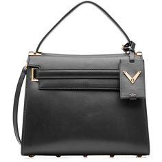 Valentino My Rockstud Leather Tote (189.000 RUB) ❤ liked on Polyvore featuring bags, handbags, tote bags, totes, valentino, black, black structured tote, structured tote bag, black leather tote and genuine leather handbags