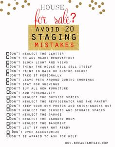 Home Staging Checklist | ... Home Staging, Home Decor, Staging checklist, interior design tips www