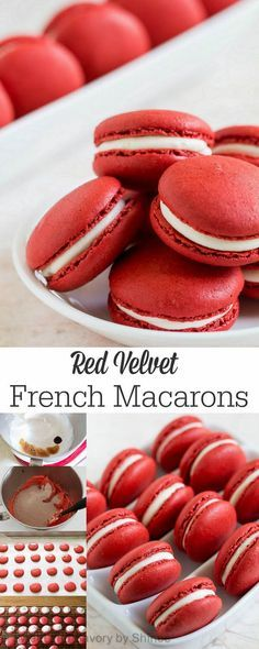 Stunning red velvet macarons are made to impress! step by step visuals for these crisp and pleasantly chewy macarons filled with sweet and tangy cream cheese filling. Köstliche Desserts, Delicious Desserts, Dessert Recipes, Yummy Food, Healthy Desserts, Baking Recipes, Cookie Recipes, French Macaroons, Red Velvet Macaroons