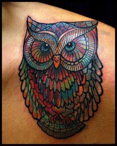 colorful owl by Kel Tait | tattoo artist – Melbourne, Australia