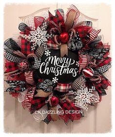 Merry Christmas Buffalo plaid deco mesh wreath/Buffalo plaid wreath/Christmas wreath/Black and red Christmas wreath Merry Christmas Sign, Christmas Wreaths To Make, Holiday Wreaths, Christmas Crafts, Winter Wreaths, Spring Wreaths, Summer Wreath, Wreath Fall, Christmas Christmas