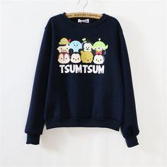 2015 Hot sales Japaneses Letter TSUM Printed Cute Cartoon Character Women sweatshirt Fleece Inside Winter White/Black Sweatshirt-in Hoodies & Sweatshirts from Women's Clothing & Accessories on Aliexpress.com   Alibaba Group