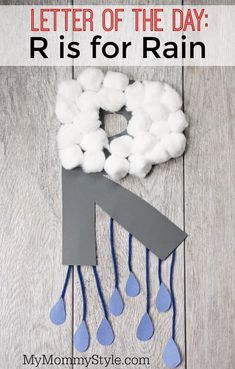 Sweet letter of the day craft! R is for rain. - Letter r crafts for preschoolers - Preschool Letter Crafts, Alphabet Letter Crafts, Abc Crafts, Daycare Crafts, Alphabet Activities, Toddler Crafts, Preschool Activities, Letter Tracing, Crafts For Letter A