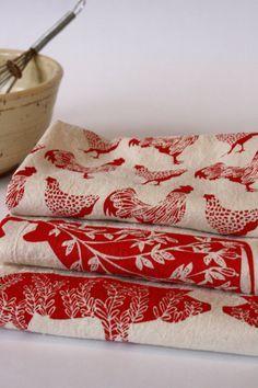 Red Farm Print Tea Towels.