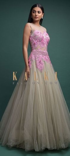 Squirrel grey ball gown in net adorned with pink flowers, resham, cut dana and sequins in floral pattern on the bodice. Anarkali, Lehenga, Indowestern Gowns, Reception Gown, Illusion Neckline, Pink Fabric, Indian Wear, Salwar Kameez, Party Wear